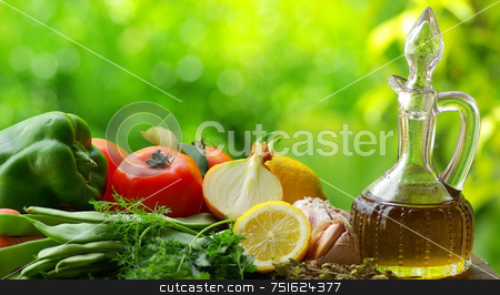 Olive oil and condiments. stock photo, Oil Olive with vegetables and condiments. by Inacio Pires