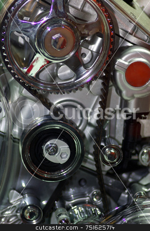 Closeup of engine of an automobile. stock photo, Part of components, in cut, of an engine of automobile. by Inacio Pires