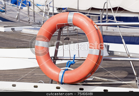Life preserver stock photo, Detail of a life buoy on a sailboat by Massimiliano Leban