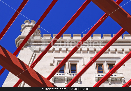 Trieste, Miramare Castle stock photo, Wiev of Miramare Castle through a red pergola by Massimiliano Leban