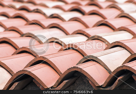 Roof tiles stock photo, Detail of red tiles on a roof by Massimiliano Leban