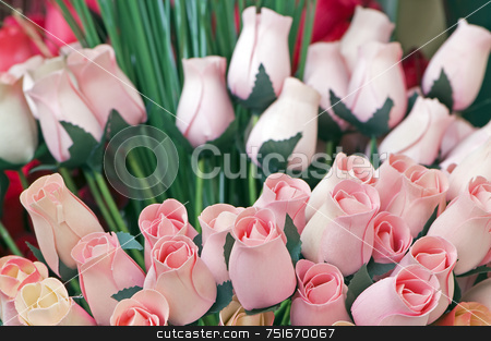 Wooden tulips stock photo, Bouquet of balsa wood tulips like real flowers by Massimiliano Leban