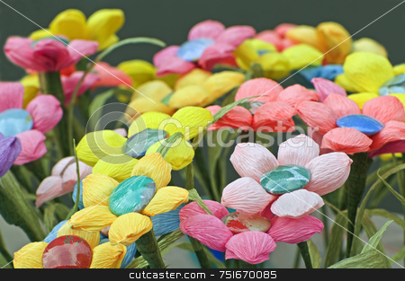 Paper flowers stock photo, Many coloured handmade flowers made with crepe paper by Massimiliano Leban