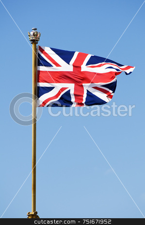 Union Jack stock photo, Great Britain flag blowing in the sky by Massimiliano Leban