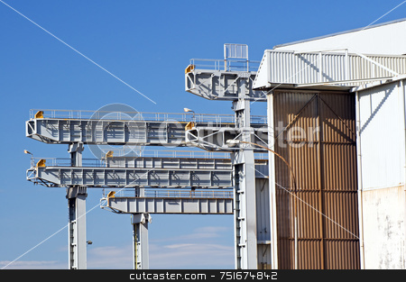 Industry stock photo, Detail of overhead cranes and warehouse in a shipyard by Massimiliano Leban