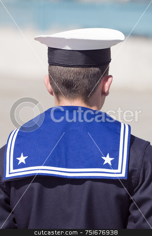 Sailor stock photo, Rear view of a navy sailor during the guard by Massimiliano Leban