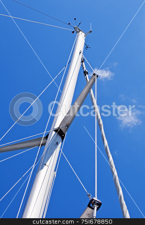 Mast stock photo, Mast of a sailboat against a blue sky by Massimiliano Leban