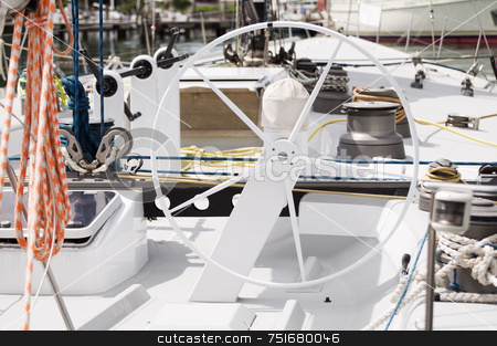Sailboat stock photo, Detail of a sailboat: rudder, grinders, winches and rigging by Massimiliano Leban