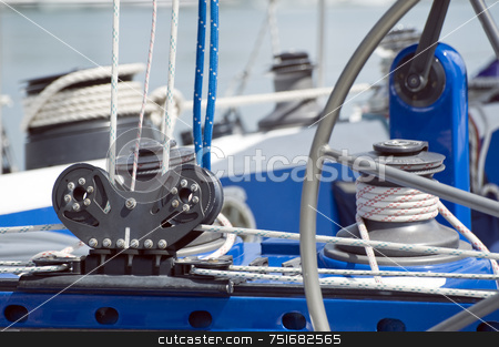 Sailboat stock photo, Close-up of equipment on a blue sailboat by Massimiliano Leban