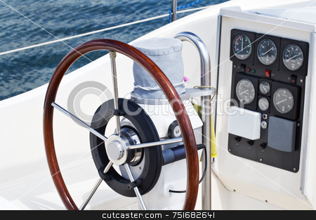 Rudder and instruments stock photo, Deatail of rudder and navigation instruments on a sailboat by Massimiliano Leban