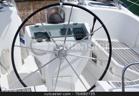 Rudder stock photo, Detail of rudder and navigation instrument in a sailboat cockpit by Massimiliano Leban