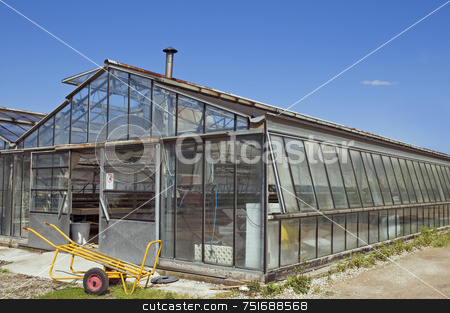 Greenhouse stock photo, External view of a glasshouse against a blue sky by Massimiliano Leban