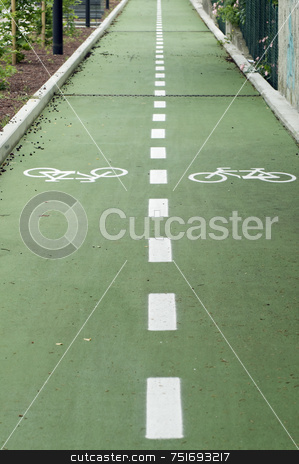 Bike road stock photo, Bike road with two lanes diveded by dotted line by Massimiliano Leban