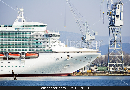 Cruise ship stock photo, Ship under construction in a dockyard with cranes by Massimiliano Leban
