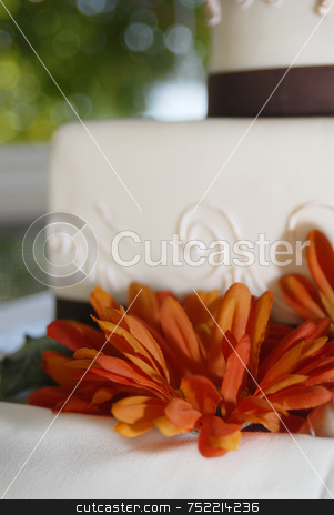 Wedding Cake with Flower stock photo, Wedding Cake Close up by A Cotton Photo
