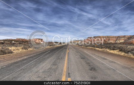 Desert Road stock photo, Desert road in New Mexico by A Cotton Photo