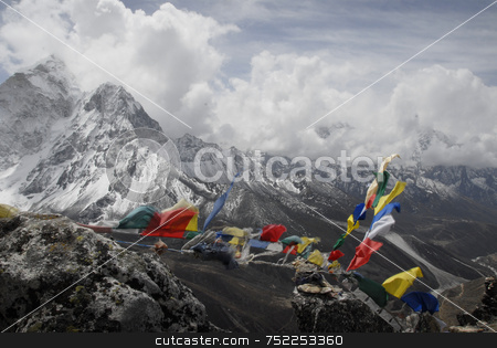 Himalayan Mountain Range stock photo, Himalayan Mountain Range Everest Valley by A Cotton Photo