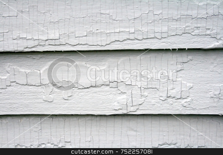 Old Paint on Wood stock photo, Old paint on wood siding, showing crackling and weathering, needing restoration; useful as pattern, background, design by Tom and Beth Pulsipher