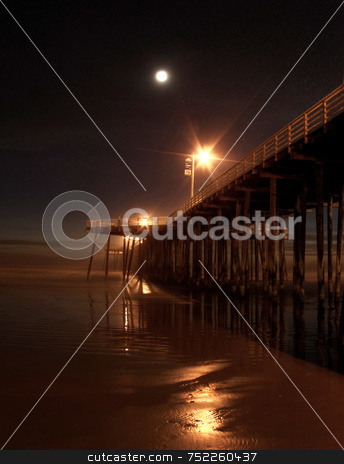 Night time at Pier  stock photo, Nighttime at Pismo Pier by A Cotton Photo