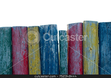 Colorful Posts stock photo, A close-up view of a line of colorful posts by Richard Nelson