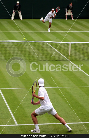 Tennis Match stock photo, A singles tennis match in the UK. by Lucy Clark
