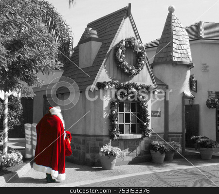 Santa is Coming stock photo, Santa walking to his workshop selective color. by Lucy Clark