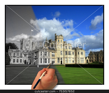 Painting History stock photo, The building is a top school in the UK. The hand appears to be painting the photo. by Lucy Clark