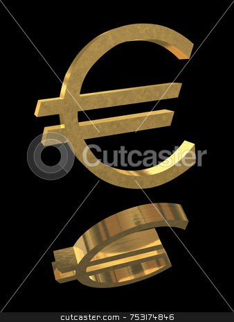 Gold Euro Symbol stock photo, Gold Euro sign symbol on black with brushed metal textures and reflection. by ngirl