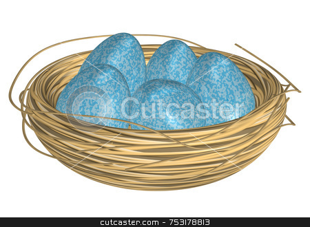 Blue Eggs in Straw Nest stock photo, Five speckled blue eggs in nest on white background. Good for Easter but generic enough for spring. Speckled eggs have soft sheen and highlights. Nest is straw with stray strands. High quality 3D render on white backgrouund. by ngirl