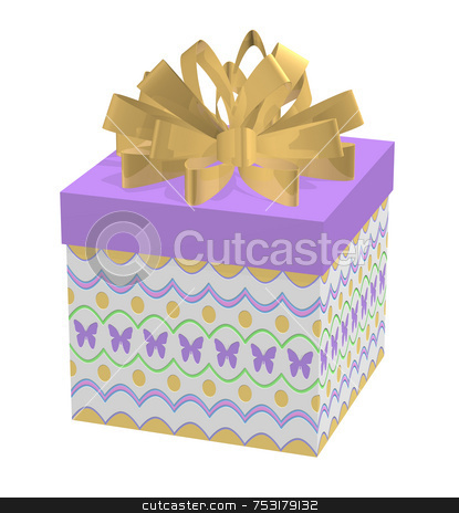 Spring Gift in Decorated Box stock photo, Spring or Easter gift in a decorated box. Top of box is purple with a giant loop golden tone bow. Bottom of box has a spring pattern of scallops, dots, and purple butterflies. Happy and airy theme. Colorful pattern has embossed effects added. Bow casts subtle shadows onto box lid. High quality 3D render on white background. by ngirl