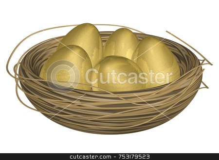 Golden Eggs in Nest stock photo, Five golden eggs in a straw nest. Nice metallic and reflective texture on eggs. Good for Easter holiday or financial metaphor representing wealth or retirement nestegg. High quality 3D render. Easy selection off white background. by ngirl