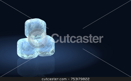 Three Frosty Ice Cubes stock photo, Three frosty ice cubes in a pile. Cubes have soft rounded edges and quality detail in the 3D texture. The cubes look like they have internal light. Spotlight effect on deep blue reflective background. Pile of cubes is offset left with plenty of copyspace. by ngirl