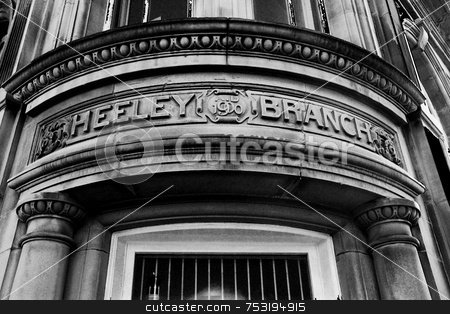 1900 Doorway stock photo, A photograph of intricate and beautiful stonework dated 1900 in an old bank. by Philippa Willitts