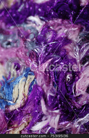 Brightly Coloured Purple Yarn stock photo, A close-up photograph of purple and mixed coloured fibres by Philippa Willitts