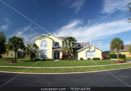 New Home stock photo, A new home with blue sky and palm trees. by Lucy Clark