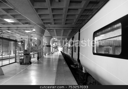 Train Station stock photo, A platform in a train station in France. by Lucy Clark