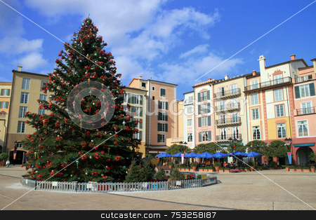 Hotel with Christmas Tree stock photo, A hotel with a big christmas tree by Lucy Clark