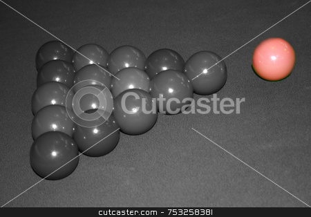 Snooker Balls stock photo, Snooker balls b&w and colour on the pink. by Lucy Clark