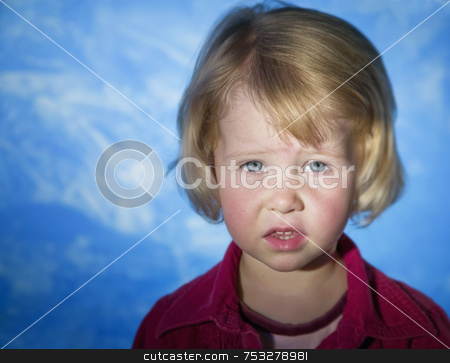 Little Girl with Blue Eyes stock photo, Little girl with blue eyes looks concerned by Scott Griessel
