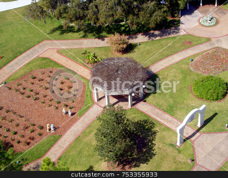 Garden Below stock photo, A garden from a view up above by Lucy Clark