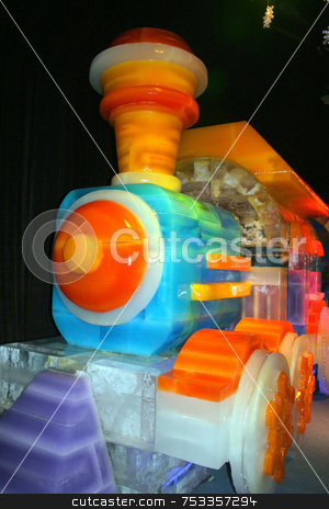 Ice Train stock photo, A colorful train make out of ice blocks. by Lucy Clark