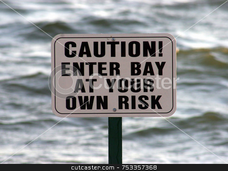 Caution Sign stock photo, Caution sign with sea behind taken on a beach. by Lucy Clark