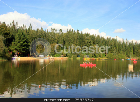 Center Parcs Lake stock photo, A Lake in the middle of the countryside by Lucy Clark