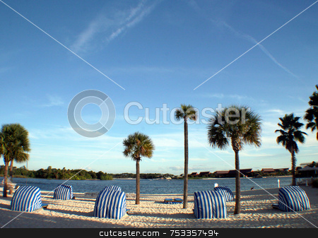 Beach View stock photo, A beach with palm trees and a lake. by Lucy Clark
