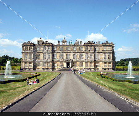 Stately Home stock photo, A Stately Home in Wiltshire, UK, looking up the driveway. by Lucy Clark