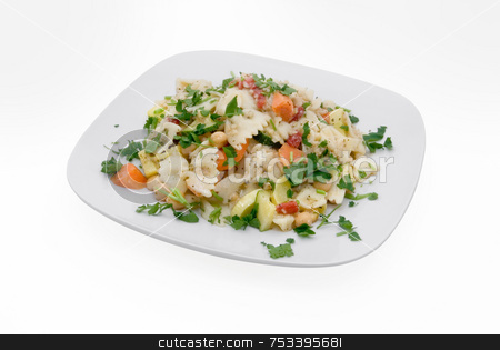 Pasta Salad Isolated stock photo, Bow tie pasta salad on plate isolated on white with clipping path. Salad has chick peas, carrots, summer squash, red pepper and parsley. by ngirl
