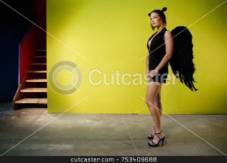 Angel 2 stock photo, Angel in black looks up to heaven. by Scott Griessel
