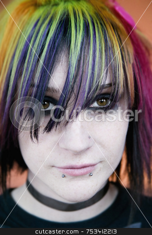 Alternative Young Woman stock photo, Alternative Young Woman with Brightly Colored Hair by Scott Griessel