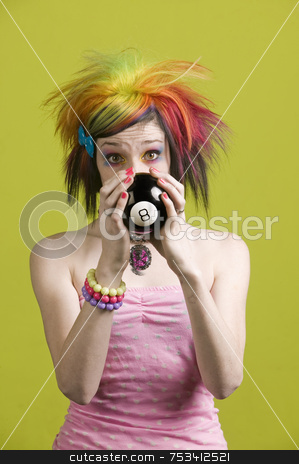Punk woman with reading the future stock photo, Close-up of a woman with bright mascara and colorful hair predicts the future by Scott Griessel