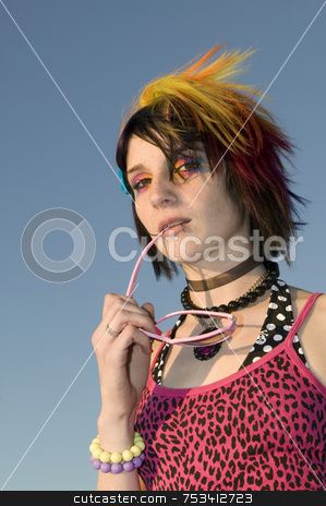 Young Punk Woman stock photo, Close-up of a young punk woman with sunglasses by Scott Griessel